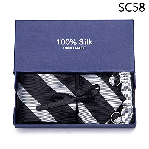 ZHENZHIA Tie Mannen Zwart Plaid Zijde NeckCufflink Set Bruiloft Party Business