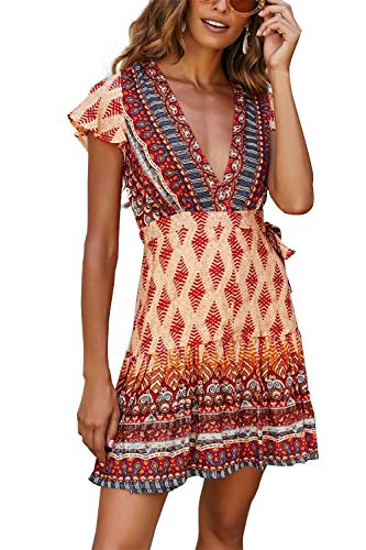 MisShow Damen Wickel Kleid Boho Sommerkleid Maxikleid Kurzarm Strandkleid mit Schlitz Gr. M