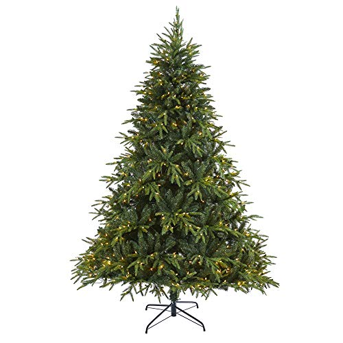 "Nearly Natural 7.5ft. Colorado Mountain Fir ""Natural Look†Artificial Christmas Tree with 600 Clear LED Lights, Green"