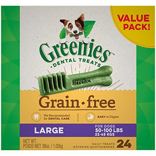 GREENIES Grain Free Large Natural Dog Dental Care Chews Oral Health Dog Treats, 36 oz. Pack (24 Treats)