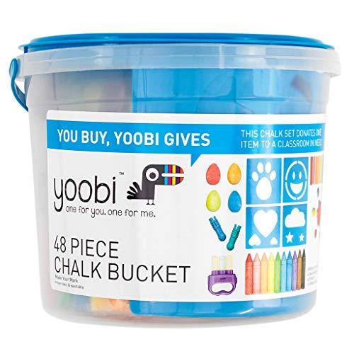 Yoobi | Sidewalk Chalk Bucket Set with Accessories | 36 Pieces of Chalk, 4 Egg Chalk, 2 Chalk Holders, 1 Hand Chalk Holder, 4 Stencils and Plastic Carrying Bucket | Multicolor