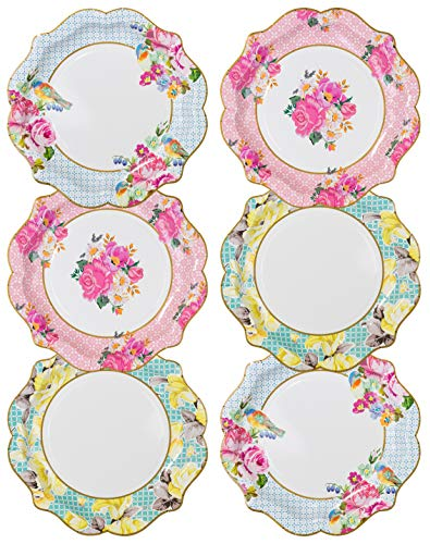 Talking Tables Pack of 12-Size 22cm 8.5' Afternoon Tea Vintage Floral Paper Plates | Truly Scrumptious | for Birthday Party, Baby Shower, Wedding and Anniversary, Disposable, Pastel Colours
