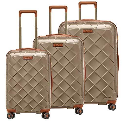 STRATIC Leather & More Koffer-Set 3-teilig Hartschalen-Koffer Trolley Rollkoffer Reisekoffer 4 Rollen TSA-Zahlenschloss (S,M,L) Champagne-Gold