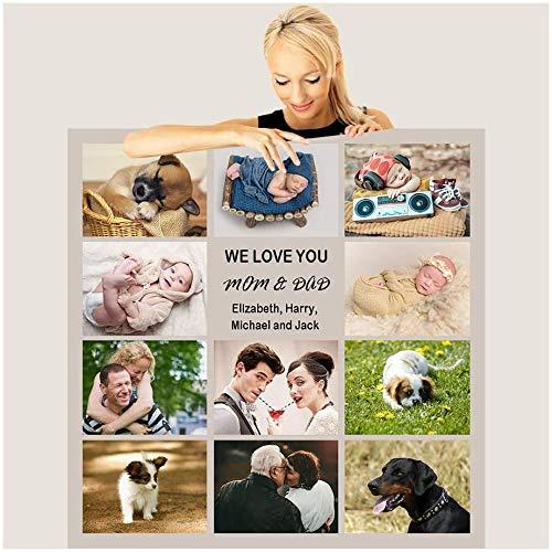 Jilijia Personalisierbare Decke mit Fotos für Hunde/Haustiere, Porträt-Decke für Freunde, weiches Flanell, Geschenk...