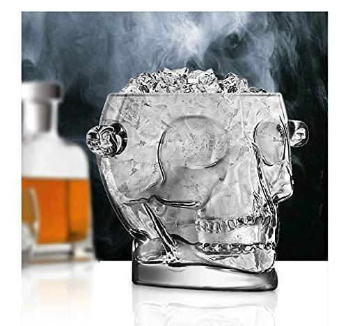 DMAI 1600ML Cristal sin Plomo Cabeza de Calavera Cubo de Hielo cristalería Decorativa y Accesorios para Manualidades de Bar para Whisky, Vodka
