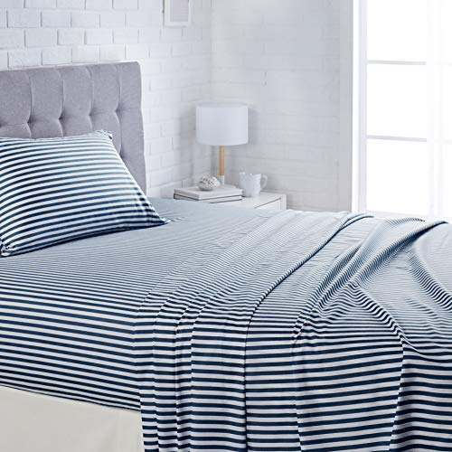 "AmazonBasics Lightweight Super Soft Easy Care Microfiber Bed Sheet Set with 16"" Deep Pockets - Full, Navy Pinstripe"