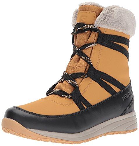 Salomon Women's Heika Ltr CS Waterproof Snow Boot, Camel Gold Leather/Black/Vintage Kaki, 10 M US