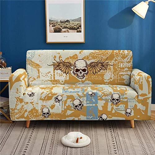 GAOZHEN Funda de sofá con Estampado de Calavera Digital 3D, a Prueba de Polvo, Antideslizante, Funda de sofá de Alta Elasticidad, 1 2 3 4 plazas