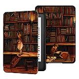 Ayotu Custodia in Pelle PU per Kindle Paperwhite-Custodia impermeabile dipinta per svegliarsi/dormire automaticamente(solo per Kindle Paperwhite 10ªgen-modello 2018),La biblioteca