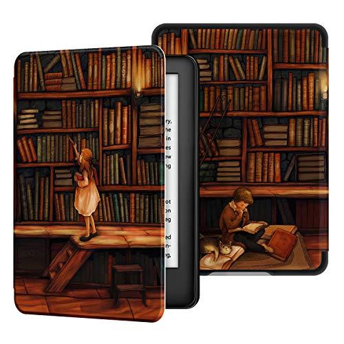 Ayotu 2019 Kindle Ledertasche - Automatisch Wake/Sleep, kompatibel mit dem neuen Kindle von Amazon (10. Generation - 2019), Bibliothek