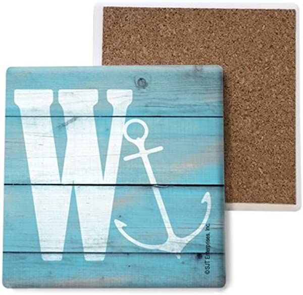 SJT ENTERPRISES INC Initial Letter Lake And Beach Themed Coasters W Absorbent Stone Coasters 4 Inch 4 Pack SJT96884
