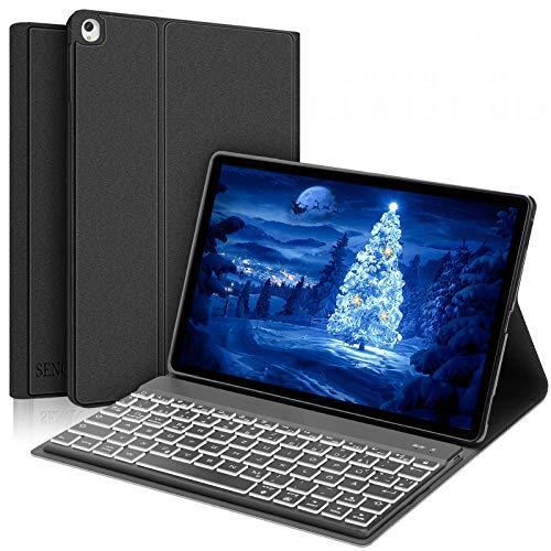 SENGBIRCH Samsung Galaxy Tab A 10.1 2019 Tastatur Hülle, Bluetooth Tastatur (Beleuchtet Deutsch Layout) mit Auto Schlaf/Aufwachen Hülle für Galaxy Tab A 10.1 Zoll - T510 & T515 - Schwarz