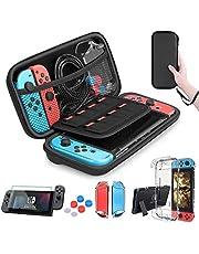HEYSTOP Zubehör für Nintendo Switch - Nintendo Switch Tasche + Nintendo Switch Hülle Transparent + Nintendo Switch Schutzfolie + Daumen Kappen für Nintendo Switch Konsolen Zubehör