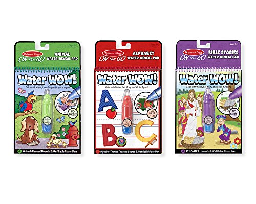 Melissa & Doug On the Go Water Wow! 3-Pack (The Original Reusable Water-Reveal Coloring Books - Animal, Alphabet, Bible Stories - Great Gift for Girls and Boys - Best for 3, 4, 5, 6, and 7 Year Olds)