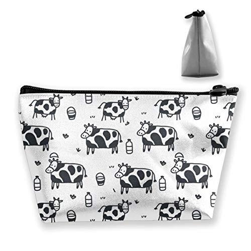 Bolsa cosmética portátil Patrón de Vaca de Dibujos Animados Bolsa de Almacenamiento Trapezoidal de impresión Multifuncional para Mujer
