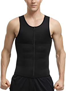 HEXIN Men Slimming Body Shaper Compression Shirt Zipper Closure Tight Undershirt Tummy Control Shapewear Bodysuit (Black, XX-Large)