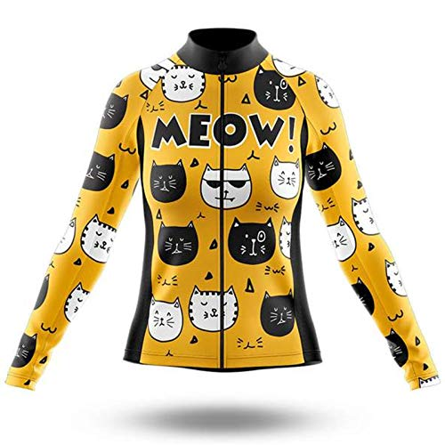 Cute Cat Style Autumn and Winter Cycling Jacket, Long-Sleeved Cycling Clothing Road Bike Long-Sleeved Cycling Jacket Mountain Bike Long-Sleeved Cat Animal Cycling Clothing (Yellow Fleece,XXXL)