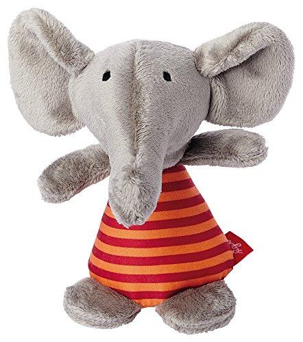 sigikid, 41176, fille et garçon, hochet en tissu éléphant, gris/orange