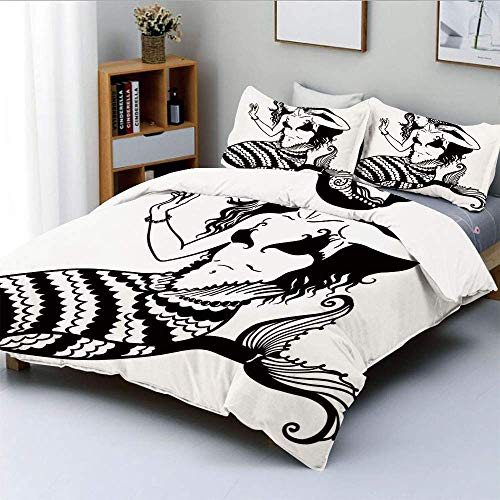 Qoqon Duvet Cover Set,Mermaid Mythological Young Girl with Fish Tail Monochrome Classic Style DecorativeDecorative 3 Piece Bedding Set with 2 Pillow Sham,Best Gift for Kids & Adult