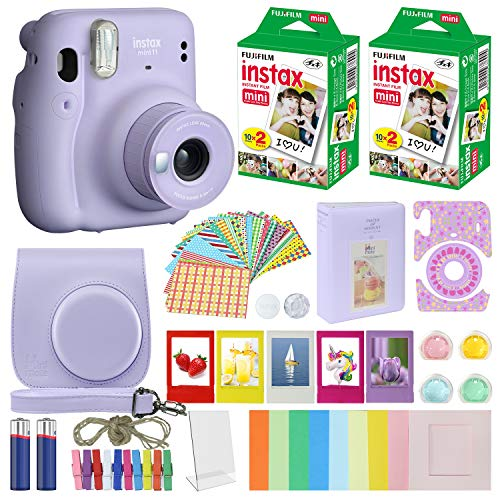 Fujifilm Instax Mini 11 Instant Camera Lilac Purple + Carrying Case + Fuji Instax Film Value Pack (40 Sheets) Accessories Bundle, Color Filters, Photo Album, Assorted Frames