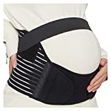 XFYJR Cinturón Abdominal for Mujeres Embarazadas,Cintura/Espalda/cinturón Abdominal,cinturón de protección Deportiva de Salud prenatal,Soporte de Espalda elástica (Color : Black, Size : L)