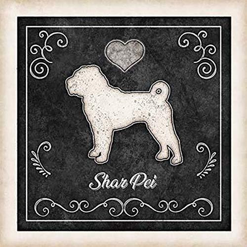 Shar Sale item Pei Dog Chalk Art Print Morris Dan Deluxe Mounted by