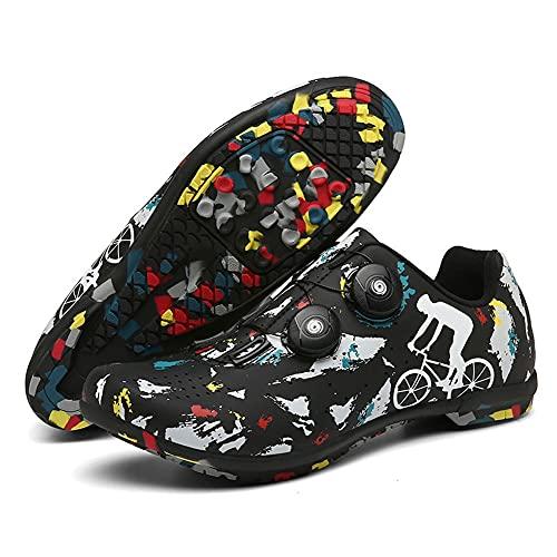 Zapatillas De Ciclismo Para Adultos,Zapatillas De Bicicleta De Montaña Transpirables,con Suela De Carbono Y Sistema Rotativo De Precisión,Calzado De Ciclismo Y Senderismo ( Color : Black , Size : I )