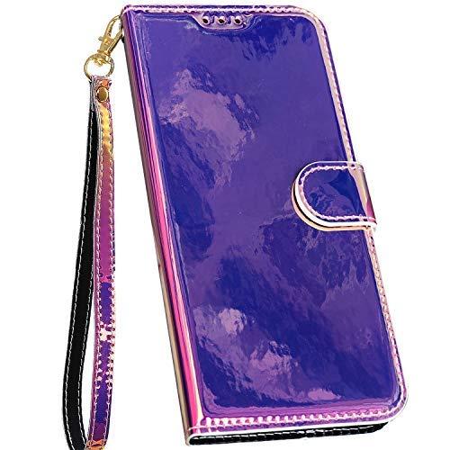 Ysimee Spiegel LederHülle kompatibel mit Samsung Galaxy S9 Hülle - PU Leder Schutzhülle Wallet Flip Ledertasche Case Handyhülle Lederhülle Handy Tasche Schale [Standfunktion] [Kartenfach], Lila