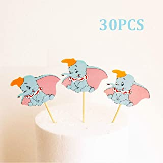 CheeseandU 30Pcs Dumbo Cupcake Toppers Cute Cartoon Blue Elephant Cake Cupcake Picks for Kids Birthday Party Baby Shower Party Supplies Elephant Theme Party Decorations