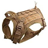 Hanshengday Tactical Dog Vest-Training Molle Harness-Tactical Dog Backpack-Pet Tactical -Vest Detachable Pouches-Relective Patches¡­