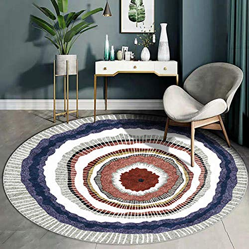 ANBAI Woonkamer moderne abstract tapijt Nordic ronde tapijt anti-slip vloer mat slaapkamer geometrische vloerbedekking bescherming thuis