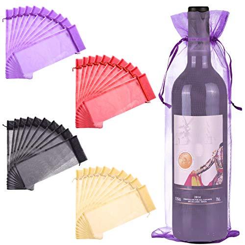 QUACOWW 40 bolsas de organza para botella de vino, bolsas de