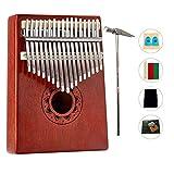Kalimba - Pianoforte portatile con 17 chiavi, in legno, con martello, manuale di istruzioni (lingua italiana non garantita), strumento musicale, regalo per principianti, bambini e adulti
