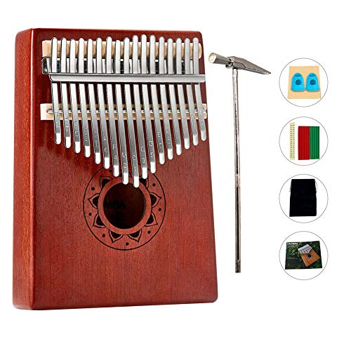 Daumenklavier Kalimba, Instrument 17 Schlüssel solid Finger Klavier,Mahagoni-Körper, Stimmhammer, Klaviertasche Geschenk zu Weihnachten/Geburtstag