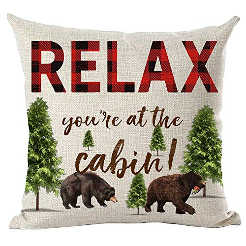 ramirar Red Brown Word Art Quote Relax You Are At The Cabin Bears Froest Trees Inspirational Decorative Throw Pillow Cover Case Cushion Home Living Room Bed Sofa Car Cotton Linen Square 18 x 18 Inches