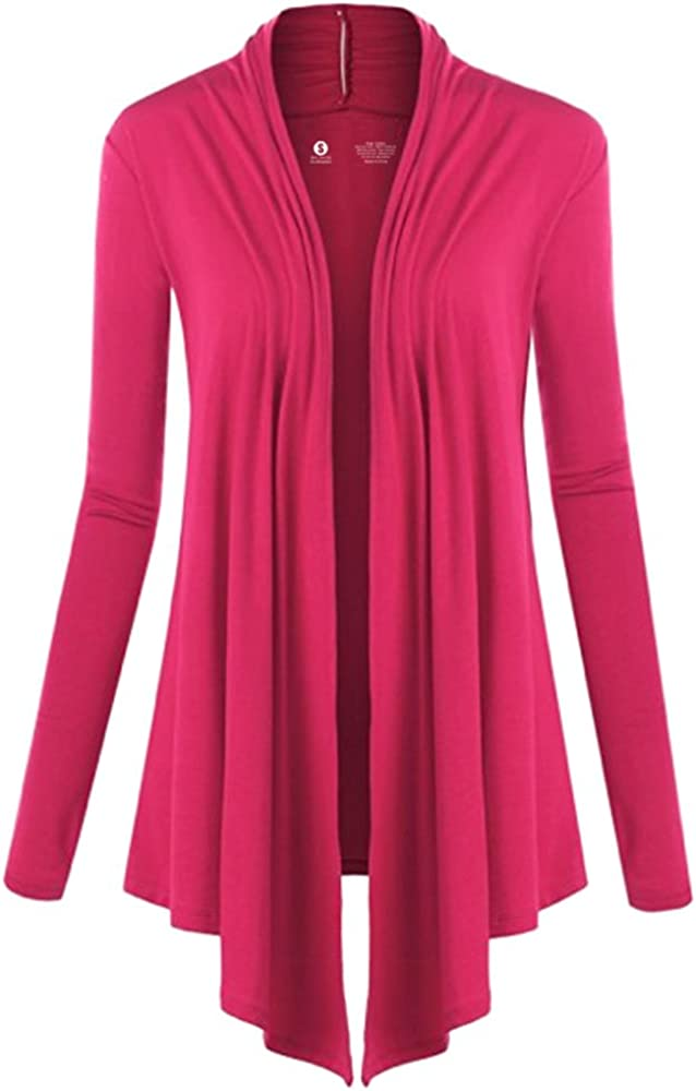 CLOYA Womens Long Sleeve Draped Open Front Cardigan