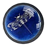 Bennigiry Schubladenknauf aus Kristallglas, mit Libellen-Muster, ergonomisch, 30 mm, rund, Möbelgriff für Küche, Kommode, Schrank, Kleiderschrank, 4 Stück