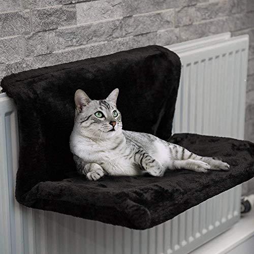DZGN Gato del radiador Cama y cálida Lana Camas Cesta Cuna Hamaca con un Marco de Metal Durable Fuerte y cómodo Cobertura de Piel Mantiene Caliente para Mascotas,Negro