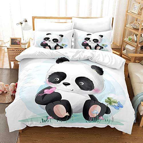 MUSOLEI White Panda Duvet Set Single Girls,Soft Animal Duvet Cover Sets with Pillow Case,Lovely Light Blue Quilt Bed Cover Flower,Zipper(Cute panda,Single)