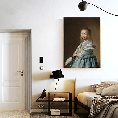Canvas Print Posters en afdrukken Portret van een meisje gekleed in blauwe schilderijen op de muur door Johannes Nederlandse Gouden Eeuw Canvas Foto's voor Woonkamer Frameless