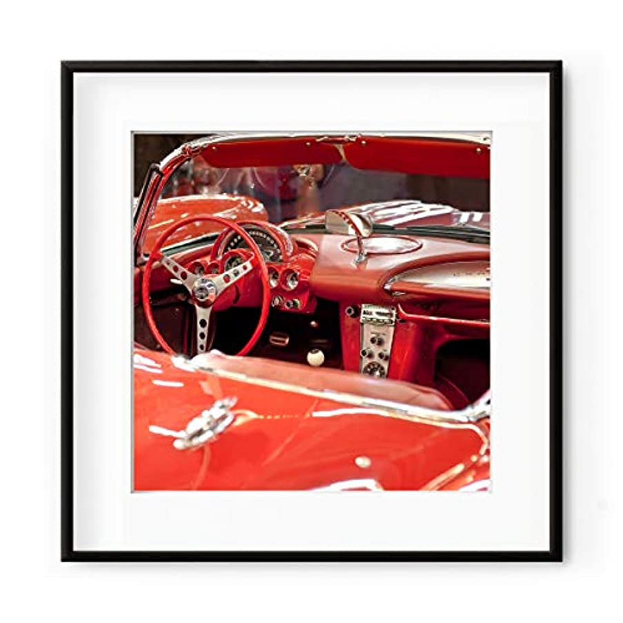Vintage Red Car, Lacquered Wood Frame, with Mount, Multicolored, 50x50
