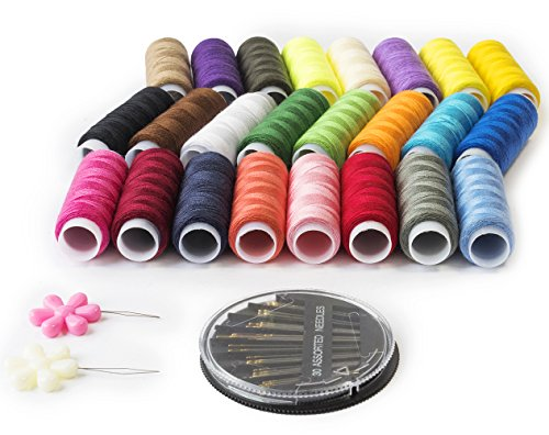 Polyester Sewing Thread Kit with 24 Assorted Color Threads - 200 Yards Per Spool. Hand Sewing Supplies Easy to Use, Accessories - 30 High-Grade Gold Tail Needles & 2 Threaders Included