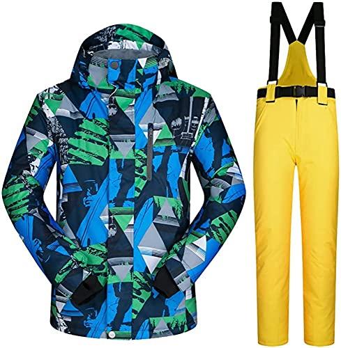 TIANYOU Hombres Traje de Esquiar Snowboard bis Chapa de Madera Invierno Chaqueta de Esquí Espesar Cálido Resistente Al Viento Traje de Nieve Saco Jacket Adecuado para Esquí de Invierno