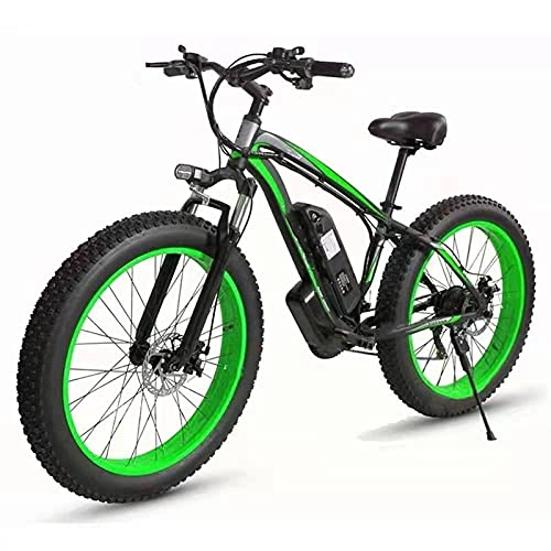 YIZHIYA Bicicleta Eléctrica, 26' E-Bike de montaña para Adultos, Ebike Fat Tire de 21 velocidades, Motor de 36V 10Ah 350W, Frenos de Disco Delanteros y Traseros,Black Green