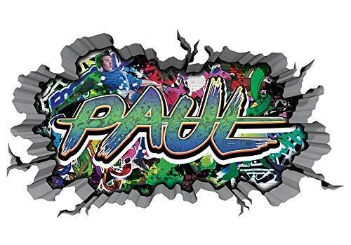 3D Wandtattoo Graffiti Wand Aufkleber Name PAUL Wanddurchbruch sticker selbstklebend Wandbild Wandsticker Jungenddeko Kinderzimmer 11U061, Wandbild Größe F:ca. 140cmx82cm