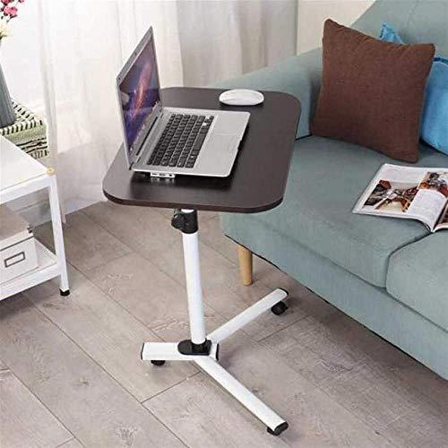 Mesa de sobrecama para ordenador portátil, dormitorio nórdico, escritorio simple, cama perezosa, portátil, escritorio, mesa de té, mesita de noche (color: marrón - blanco