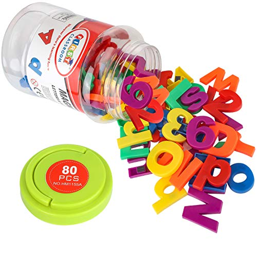 Magnetic Alphabet Letters and Numbers Large Colorful Magnetic Letters Set Preschool Learning Learning Spelling Counting Alphabet Math Symbols Kit for 4 /5/ 6/ 7 /8 Years Kid Toddler (80 Pcs)