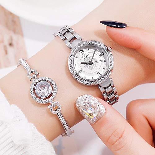 SBYQDH Frauen Kleid Uhren Set Mode Geometrische Armreif Quarzuhr Damen Armbanduhr Rose Gold UhrenSilber Weiß Bracele