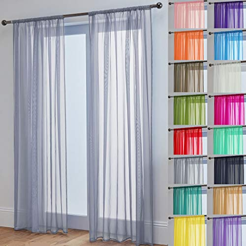 Pair Of John Aird Woven Voile Slotted Curtain Panels (Silver, 58' Wide x 72' Drop)