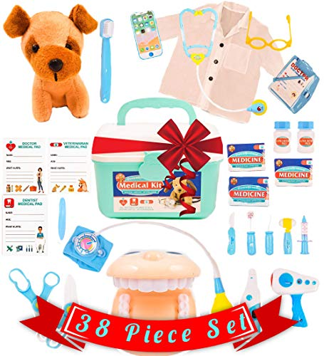 Pretend Medical Kit - Doctor Kit for Kids with Lab Coat -...